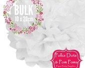 10 x 20cm WHITE Tissue Paper POM POMS / Birthday Decoration Ideas and Supplies / Bulk / Pompom / Paper Flower / Wedding / Baby Shower