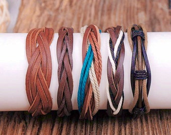 5 Piece Leather and Hemp Bracelet Set, For Men and Women,  5P-99