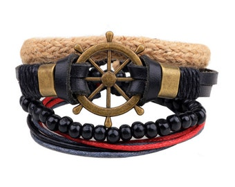 Leather Bracelets, Boats Wheel Charm, Bead Bracelet, Ships Wheel, Nautical, Sailor, 4 Piece Set, 4P-14