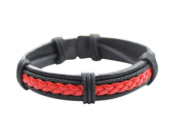 Mens Red and Black Leather Braided Bracelet Womens Braclet  s BST-205