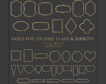 Gold Foil Frames Clip Art - gold foil frames labels flags & ribbons for scrapbooking wedding invitations photography templates blog elements