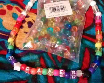Kandi raver necklace w/ glow in the dark beads
