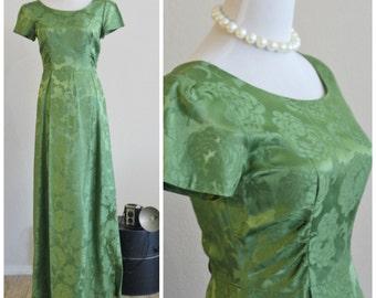 Vintage 50's 60's Peridot Green Satin Damask Brocade Maxi Empire Fitted Dress Hollywood Audrey Hepburn