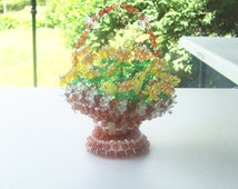 Vintage beaded safety pin basket with bouquet of flowers brown amber yellow green