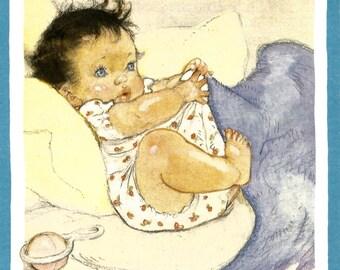Vintage cute baby children's book illustration digital download printable instant image