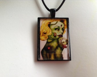 Zombie Marilyn Monroe Original Artwork Rectangle Resin Pendant Necklace Goth