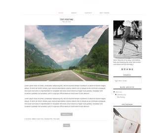 SALE Blogger Templates - Premade Blog Templates - Responsive Fashion Blog Template - Blog Theme Black and White // Fiction 2