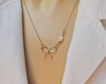 Bow Necklace, 925 Sterling Silver or 14k Gold Fill, White Freshwater Pearl Necklace, Bridesmaid Gift, Knot The Tie, Handcrafted Bow Necklace