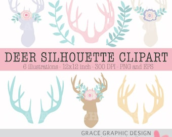 Deer Silhouette Clipart, Rustic Digital Woodlands Clipart, Flower Clipart, Laurel Clipart, Instant Download Clipart, Commercial Use Vector