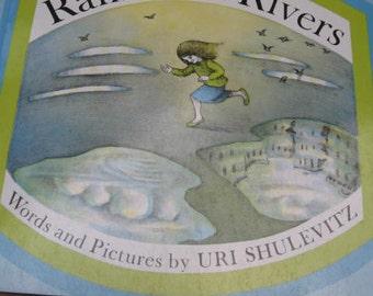 Vintage Copyright 1969 1980's Rain Rain Rivers Children's Book Uri Shulevitz - Illustrated Story Poem Weather Nature Drawings Tale