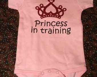 READY TO SHIP Princess in Training - Baby Onesie,  Baby shower gift, baby girl onesie, girlie outfit, cute baby onesie, princess onesie