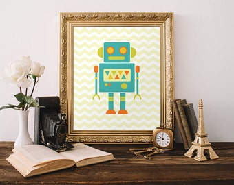 Robot Printable, 8x10, Instant Download Robot Art Print Robot Wall Art Sci-Fi Wall Art Teal Nursery Art Robot Nursery Printable Robot Art
