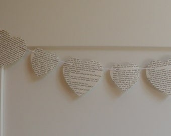 Book Page Heart Garland, Choose Length-Size of Hearts, Heart Garland , Wedding Garland, Baby shower, Home decor,