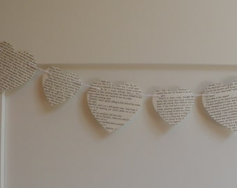 Book Page Heart Garland, Choose Length-Size of Hearts, Heart Garland , Wedding Garland, Baby shower, Home decor, Free shipping world wide