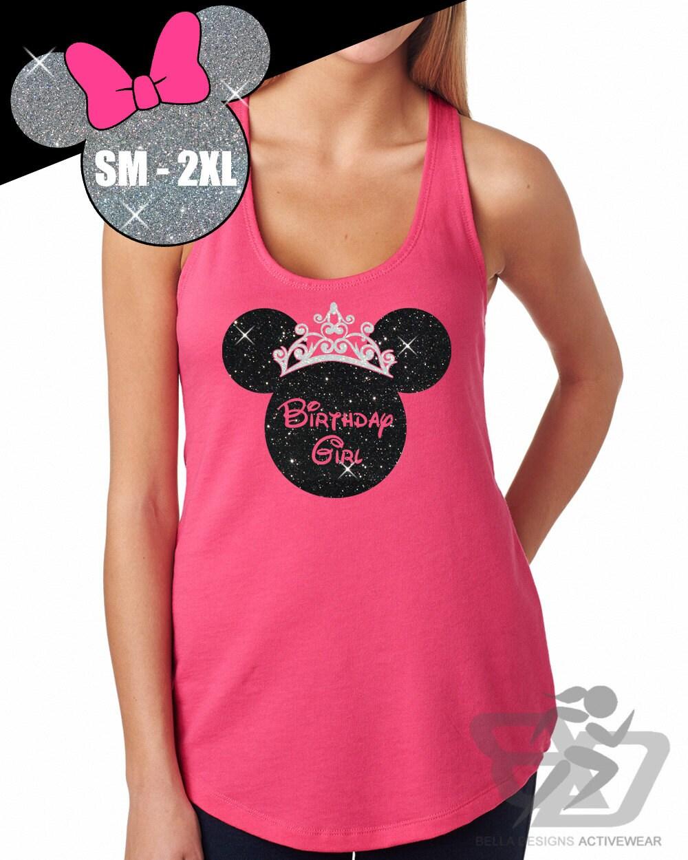 GLITTER Disney Birthday Girl Crown Minnie Terry Tank