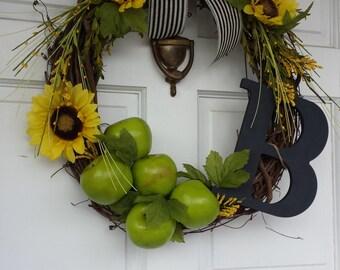 sunflower wreath, apple wreath, initial wreath, monogram wreatg