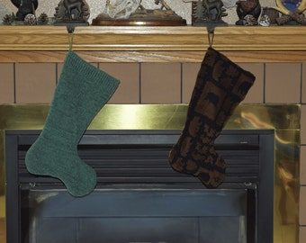OOAK Christmas Stocking from an Up-cycled black and brown fleece jacket, Rustic Christmas stocking, holiday stocking. fully lined stocking