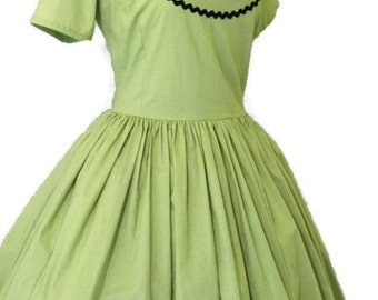 Green Dress - Retro Dress - Pinup Dress - Tuxedo Dress - Pin Up Dress - Pin Up Clothing - Rockabilly Dress - Custom Size - Plus Sizes