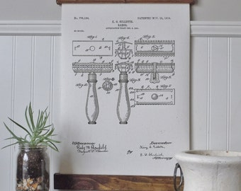 Patent art/bathroom art/canvas wall art/wall art/vintage art/razor/farmhouse/industrial