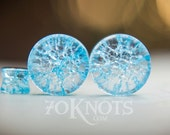 Cracked Glass Plugs - Light Blue - Double Flared - 6mm - 8mm - 10mm - 11mm - 12.7mm - 14mm - 16mm - 19mm - 22mm - 25mm - Organic