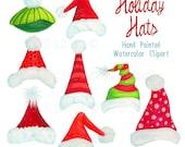 Santa hat clipart, Christmas holiday hats graphics, handpainted watercolor Christmas clipart, xmas hat art by SLS Lines