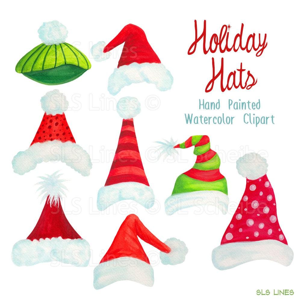 Santa hat clipart christmas holiday hats graphics