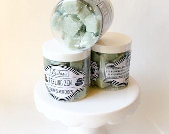 SALE***Sugar Scrub Cubes. Feeling Zen. 8 ounce jar