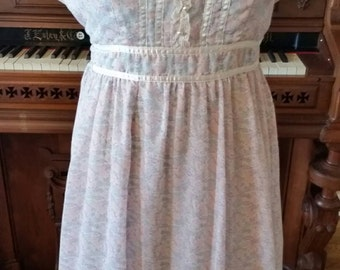 70's Gunne Sax Pastel Floral Bridesmaids Dress Wedding Sundress Lace Satin Pearl Buttons