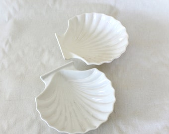 Vintage White Shell Dishes - Set of Two