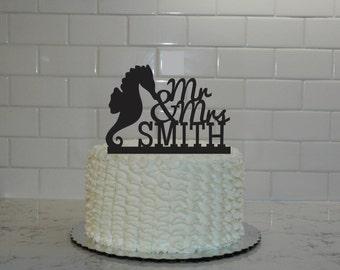 Mr & Mrs Seahorse Wedding Cake Topper - Custom Wedding Cake Topper - Last Name - Beach - Cruise - Personalized