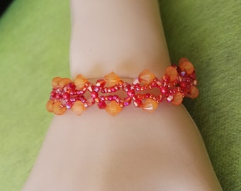 Hot red and orange butterfly beadwork bracelet  crystal beads