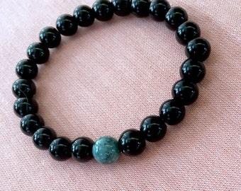 Gemstone Beaded Bracelet, Black Beaded Bracelet, Boho Bracelet, Simple Bracelet, Modern Bracelet, Stretch Bracelet, Black Onyx Bead Bracelet