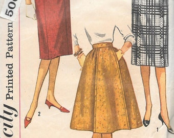 Vintage 1950s Simplicity Sewing Pattern 5125 - Misses' Skirt  waist 26 hip 36