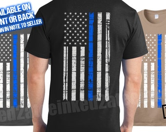 police support thin blue line tshirt for men gifts American flag blue police