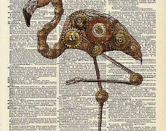 Flamingo Steampunk art print. Mr. Flamingo with top hat and Gears. Vintage book page art print.  Print on book page.