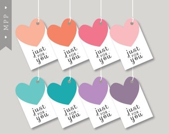 Printable Valentines Birthday Tags, Gift Tags Hearts, Love, Birthday Party, Favor, Label, Instant Download, Digital