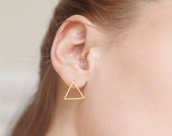 Gold Triangle Cut Out Stud Earrings