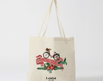 X87Y Tote bag bike love, bag canvas, cotton bag, canvas bag, tote bag, purse, diaper bag, bag to offer, shopping bag