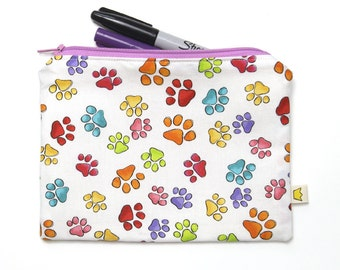 Zipper pouch with paw prints, pencil case