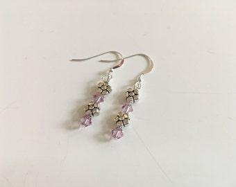 Light amethyst flower earrings