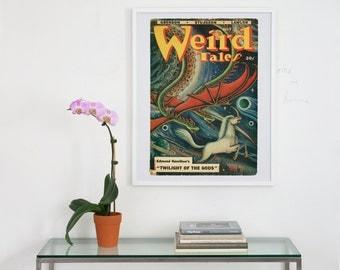 weird tales pulp magazine cover art, weird tales magazine, weird tales cover art print, cover art, weird tales magazine art, fantasy