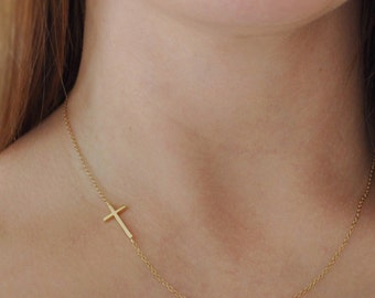 Sideways Cross Necklace - Gold - Horizontal - Delicate - Dainty - Simple - Off Centered - On The Side - Short - 14k Gold Filled Chain