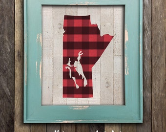 Manitoba Map Print - Prairies Canada - Canadian Buffalo Plaid Province Poster - Canadian Home and Cabin Lumberjack Decor - Winnipeg MB