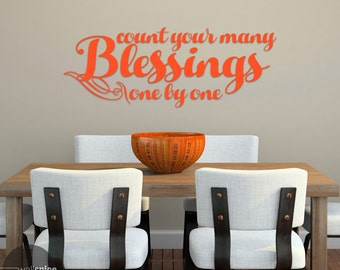 Count Your Many Blessings One By One Vinyl Wall Decal Sticker