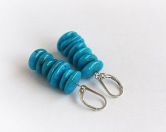 Genuine Turquoise Sterling Earrings Kingman High Blue Turquoise Chips Sterling Silver Earrings Gemstone Chip Earrings Teal Blue #16050