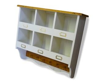 Handmade Farrow & Ball Pine Pigeon Holes + Clothes Pegs - Bespoke Made Storage