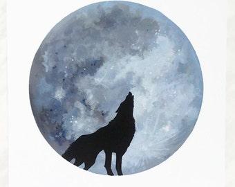 Moon Print, Wolf Print, Moon Painting, Moon Art, Lunar Artwork, Boho Decor, Space Print, Boho Print, Full Moon, Moon Decor, Space Art