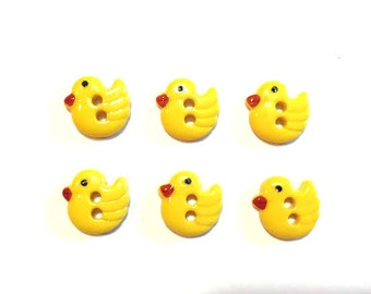 Mini Yellow Chicks Buttons Blumenthal Lansing Favorite Findings Chirp Set of 6 Two Hole Sew Thru Ducks - 101