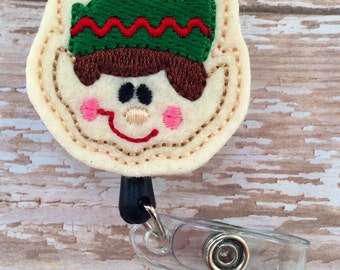 Elf retractable badge reel, Christmas felt badge reel, Holiday retractable badge reel,id badge reel, badge reel, Christmas ID Holder