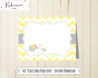 yellow place cards baby shower elephant yellow chevron place cards printable elephant food tents baby shower yellow food tents printable 104